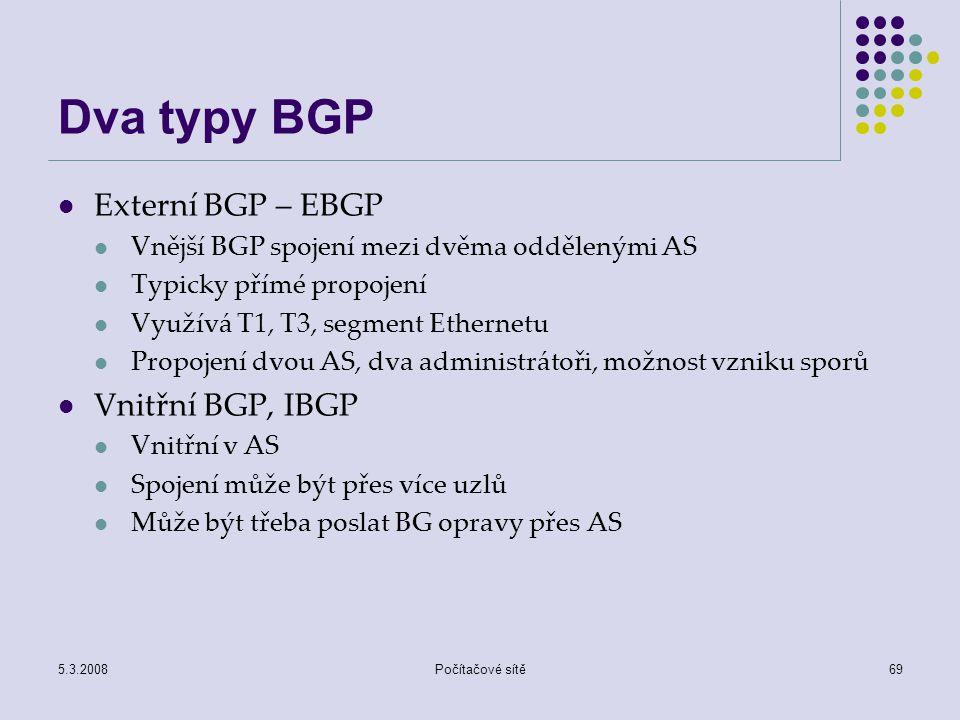 5.3.2008Počítačové sítě69 Dva typy BGP Externí BGP – EBGP Vnější BGP spojení mezi dvěma oddělenými AS Typicky přímé propojení Využívá T1, T3, segment