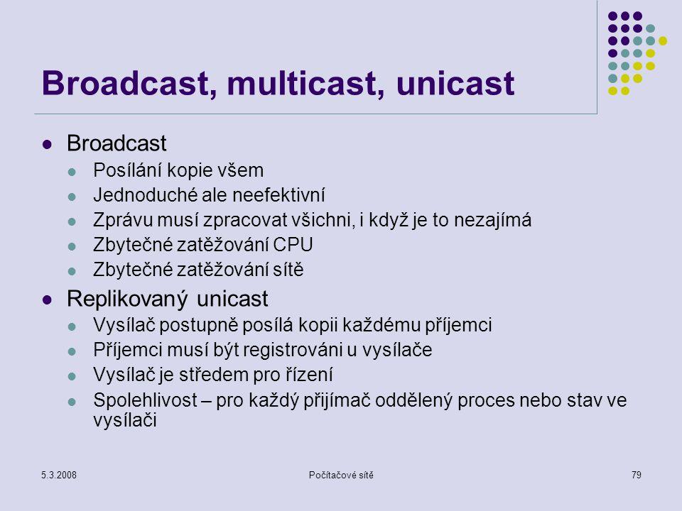 5.3.2008Počítačové sítě79 Broadcast, multicast, unicast Broadcast Posílání kopie všem Jednoduché ale neefektivní Zprávu musí zpracovat všichni, i když