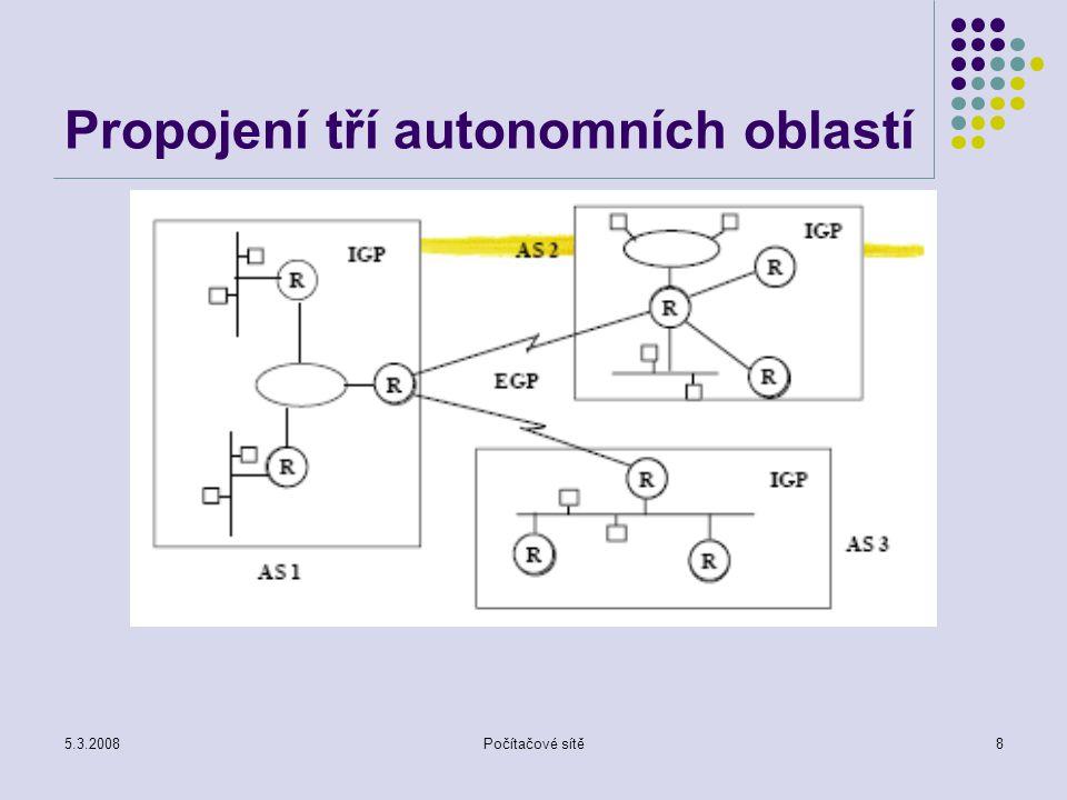 5.3.2008Počítačové sítě8 Propojení tří autonomních oblastí