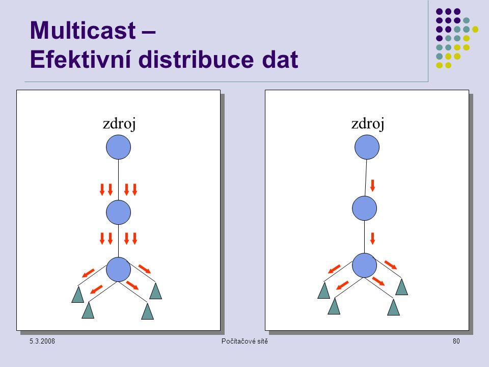 5.3.2008Počítačové sítě80 Multicast – Efektivní distribuce dat zdroj