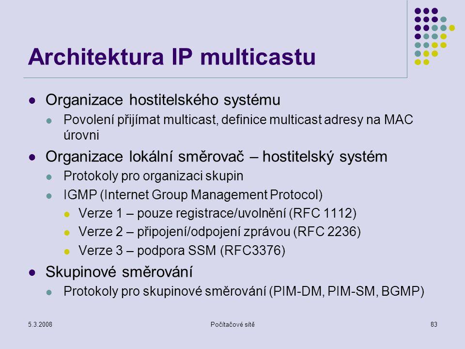 5.3.2008Počítačové sítě83 Architektura IP multicastu Organizace hostitelského systému Povolení přijímat multicast, definice multicast adresy na MAC úr