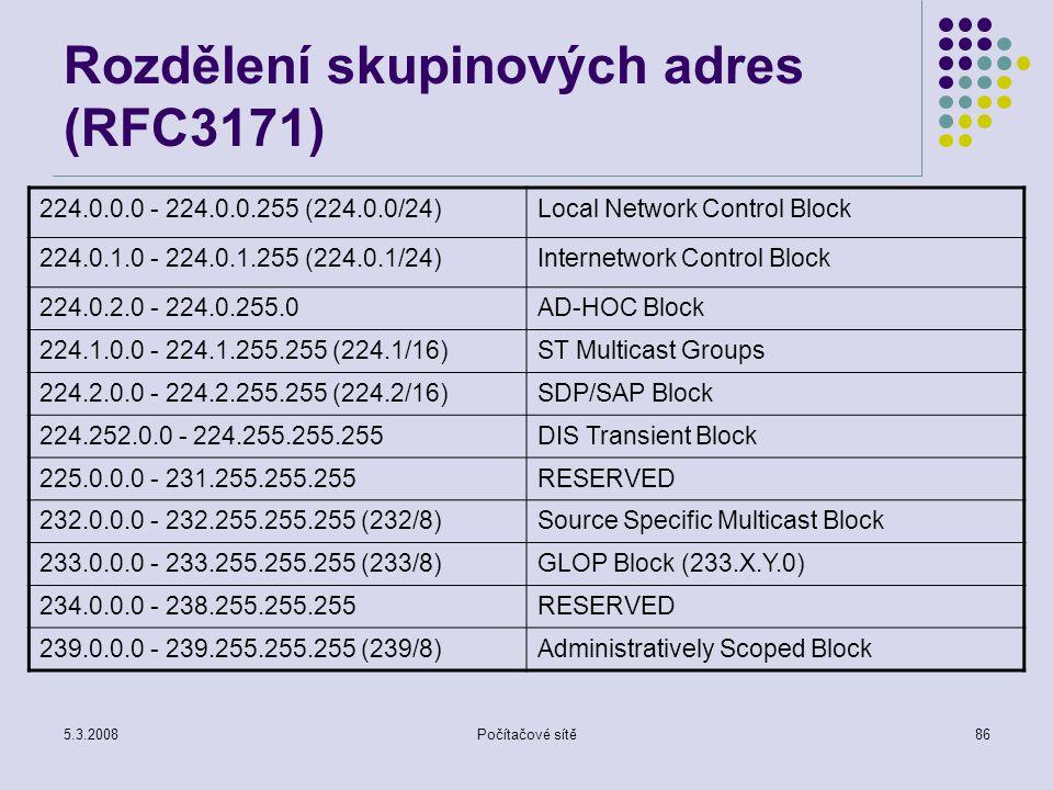 5.3.2008Počítačové sítě86 Rozdělení skupinových adres (RFC3171) 224.0.0.0 - 224.0.0.255 (224.0.0/24)Local Network Control Block 224.0.1.0 - 224.0.1.25