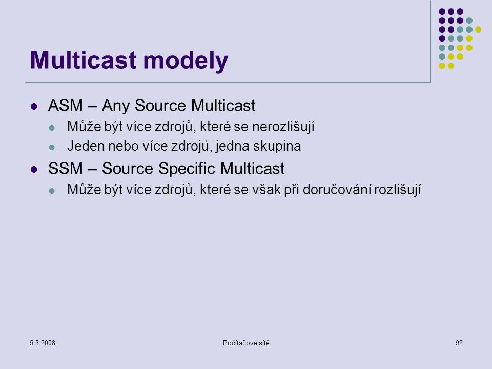 5.3.2008Počítačové sítě92 Multicast modely ASM – Any Source Multicast Může být více zdrojů, které se nerozlišují Jeden nebo více zdrojů, jedna skupina