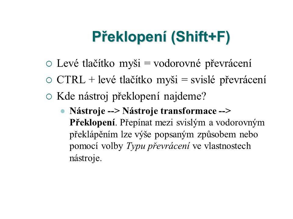 Překlopení (Shift+F)  Levé tlačítko myši = vodorovné převrácení  CTRL + levé tlačítko myši = svislé převrácení  Kde nástroj překlopení najdeme.