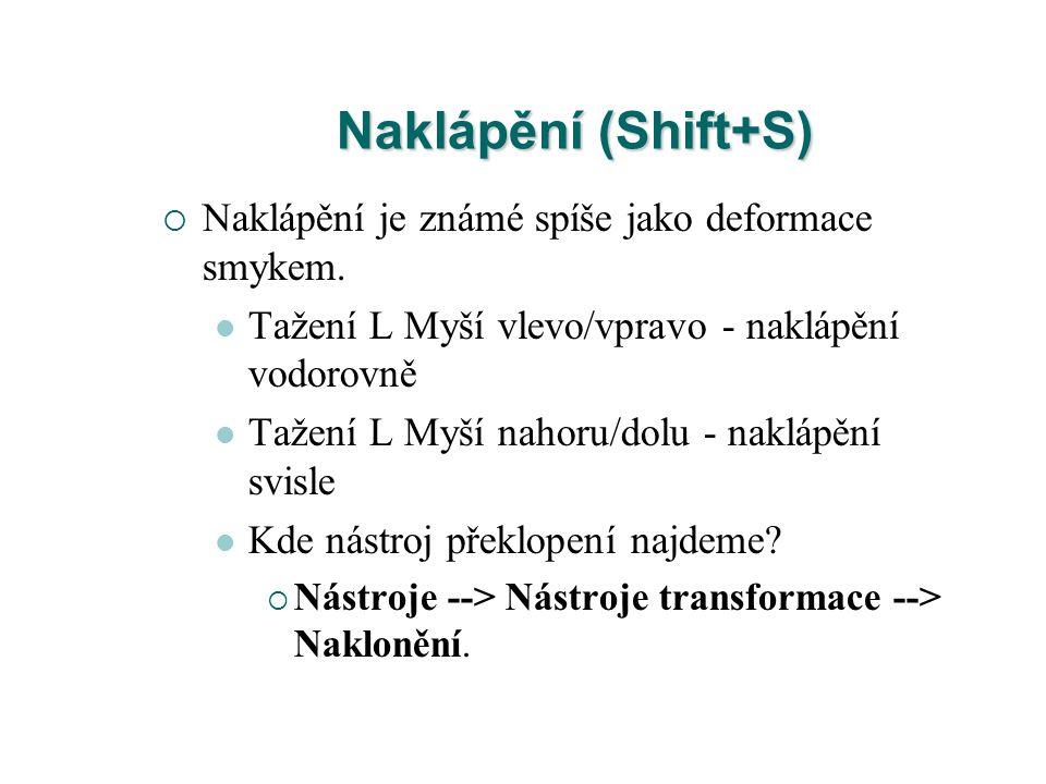 Naklápění (Shift+S)  Naklápění je známé spíše jako deformace smykem. Tažení L Myší vlevo/vpravo - naklápění vodorovně Tažení L Myší nahoru/dolu - nak