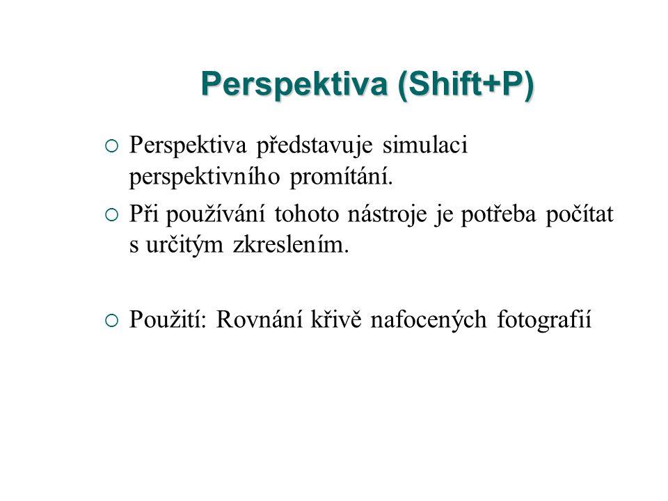 Perspektiva (Shift+P)  Perspektiva představuje simulaci perspektivního promítání.  Při používání tohoto nástroje je potřeba počítat s určitým zkresl