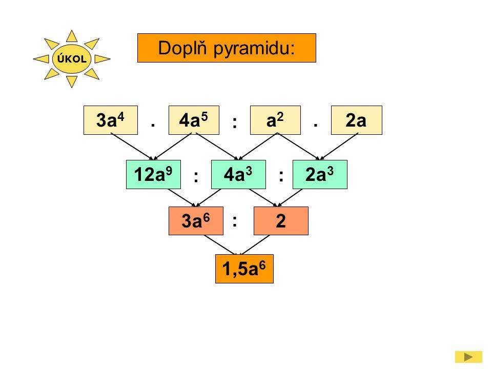 Doplň pyramidu: 3a 4 4a 5 a2a2 2a.. : : : : 12a 9 4a 3 2a 3 3a 6 2 1,5a 6 ÚKOL