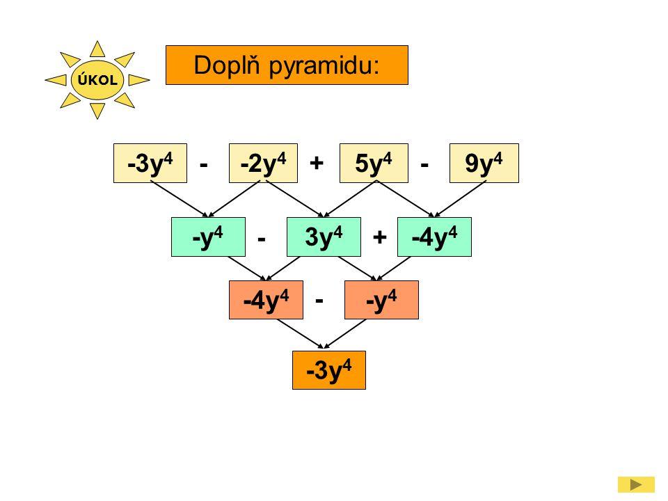 Doplň zpaměti: 3x 3 y 4 + 6x 3 y 4 9x 3 y 4 - 5a 2 b - a 2 b -6a 2 b 2u 2 v 5 - 10u 2 v 5 -8u 2 v 5 - m 2 n + m 2 n 0 ÚKOL