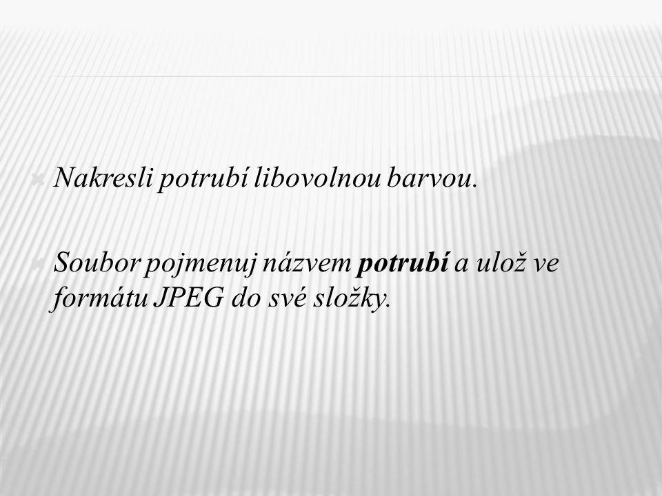  Nakresli potrubí libovolnou barvou.  Soubor pojmenuj názvem potrubí a ulož ve formátu JPEG do své složky.