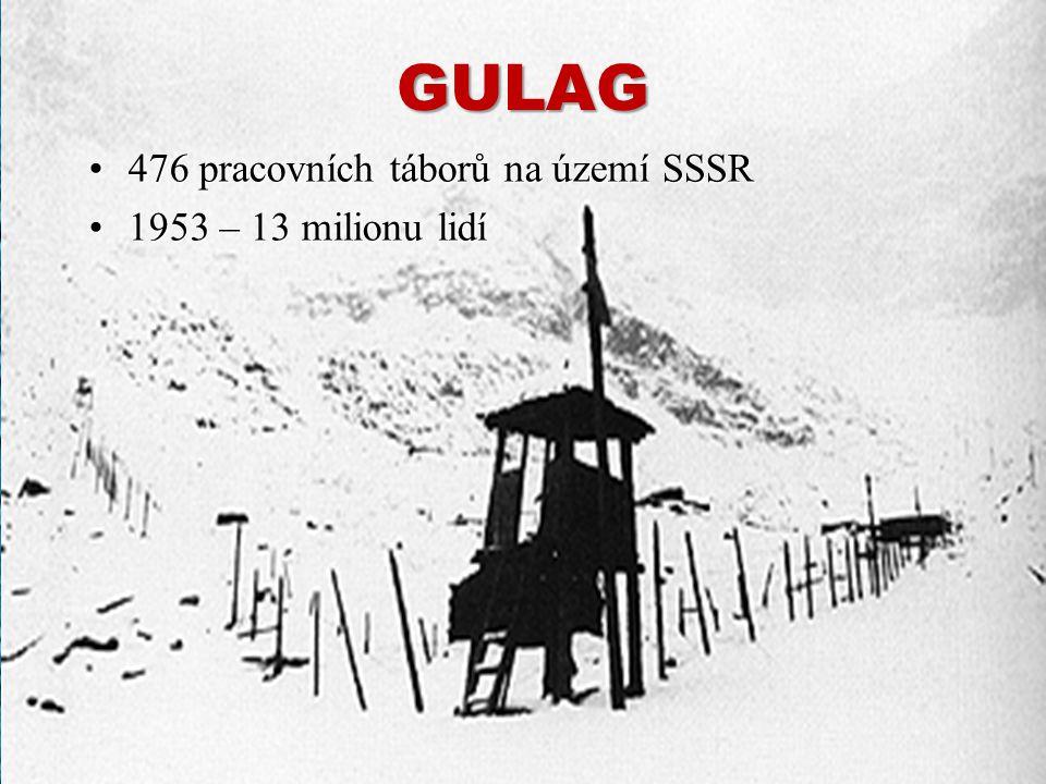 GULAGGULAG 476 pracovních táborů na území SSSR 1953 – 13 milionu lidí 476 pracovních táborů na území SSSR 1953 – 13 milionu lidí