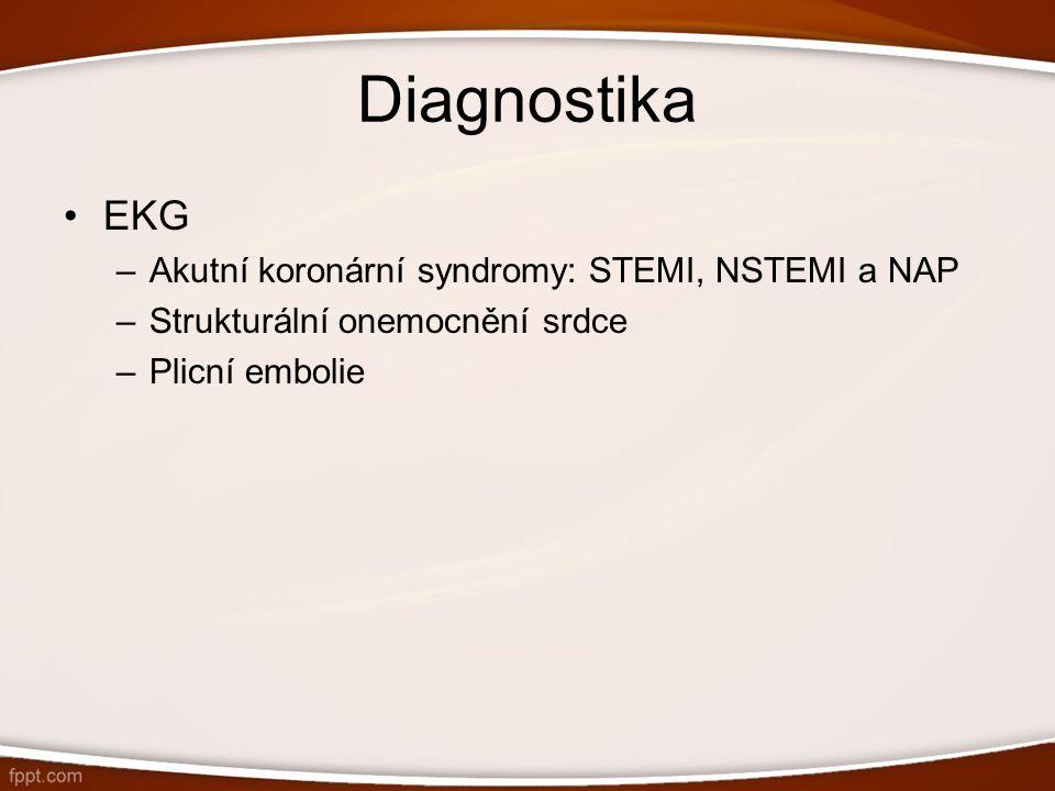 Diagnostika EKG –Akutní koronární syndromy: STEMI, NSTEMI a NAP –Strukturální onemocnění srdce –Plicní embolie