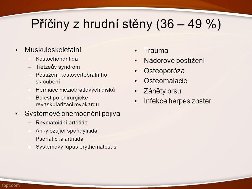 Příčiny z hrudní stěny (36 – 49 %) Muskuloskeletální –Kostochondritida –Tietzeův syndrom –Postižení kostovertebrálního skloubení –Herniace meziobratlo