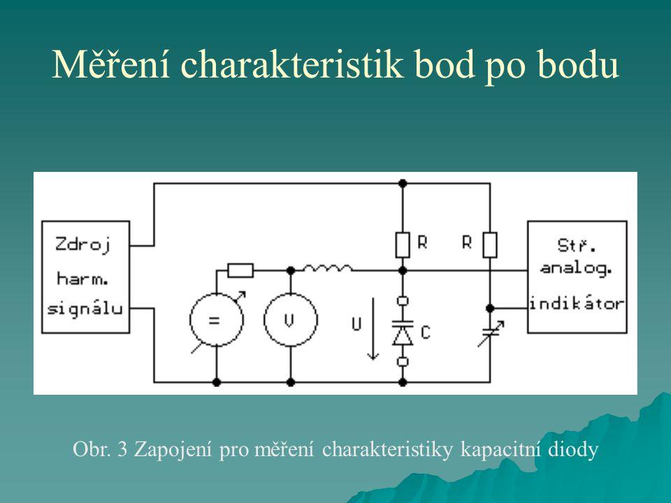 Měření charakteristik bod po bodu Obr. 3 Zapojení pro měření charakteristiky kapacitní diody