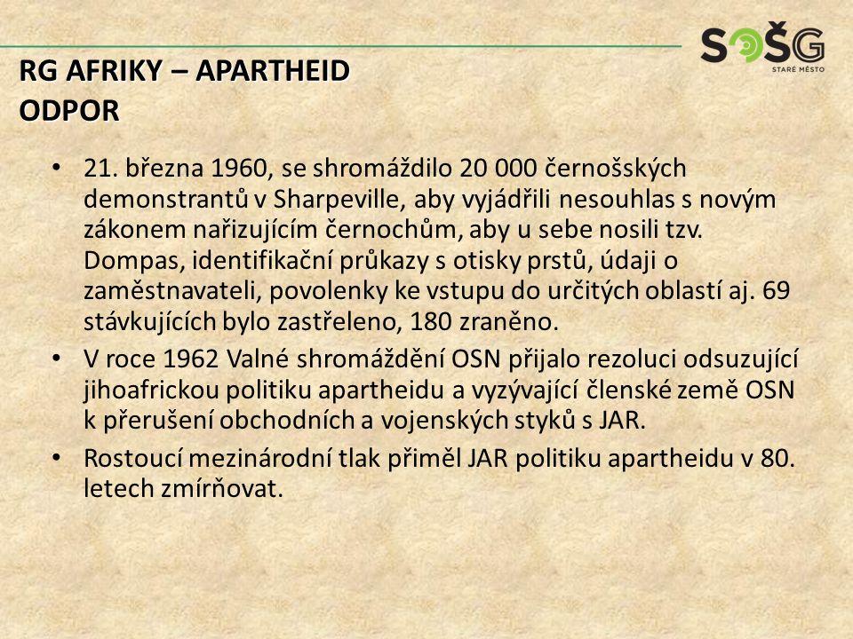 21. března 1960, se shromáždilo 20 000 černošských demonstrantů v Sharpeville, aby vyjádřili nesouhlas s novým zákonem nařizujícím černochům, aby u se