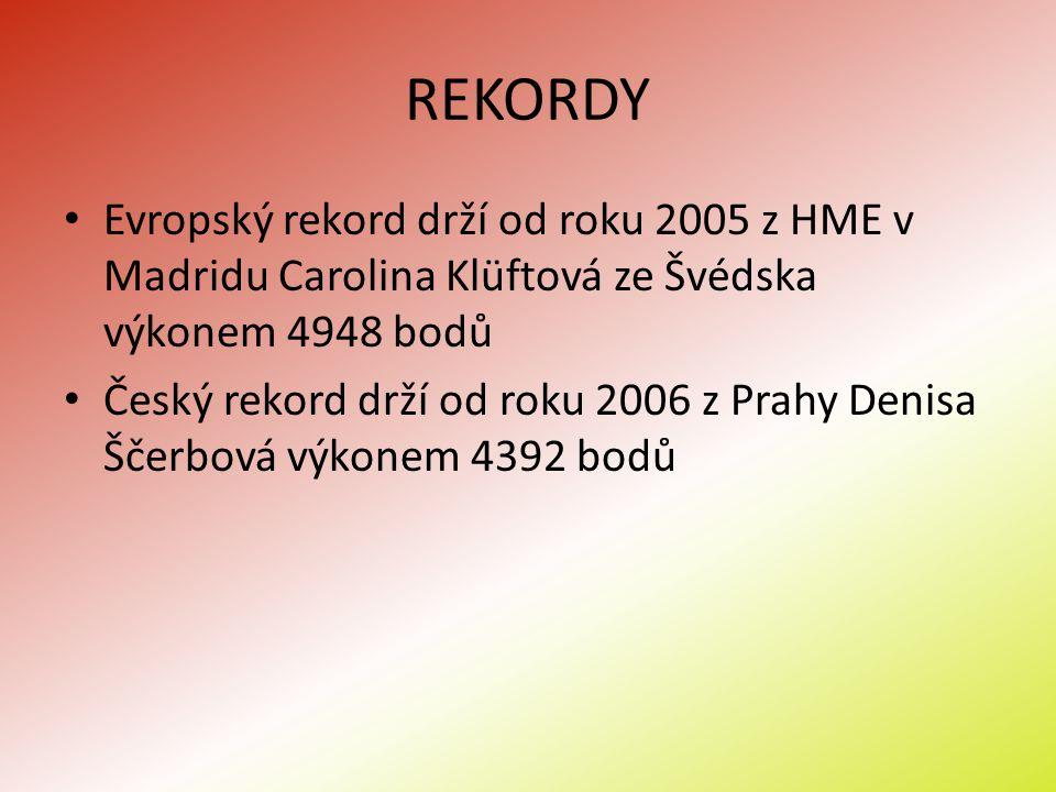 REKORDY Evropský rekord drží od roku 2005 z HME v Madridu Carolina Klüftová ze Švédska výkonem 4948 bodů Český rekord drží od roku 2006 z Prahy Denisa
