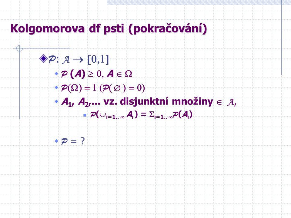 Kolgomorova df psti (pokračování) P : A   P (A)  A   P  P     A 1, A 2,...
