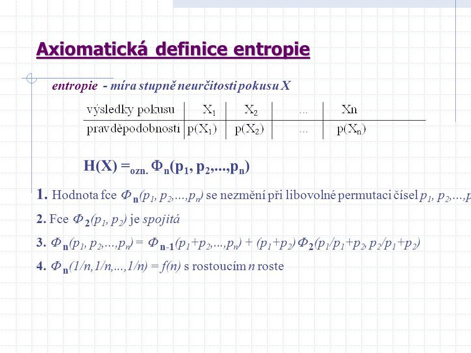 Axiomatická definice entropie entropie - míra stupně neurčitosti pokusu X H(X) = ozn.