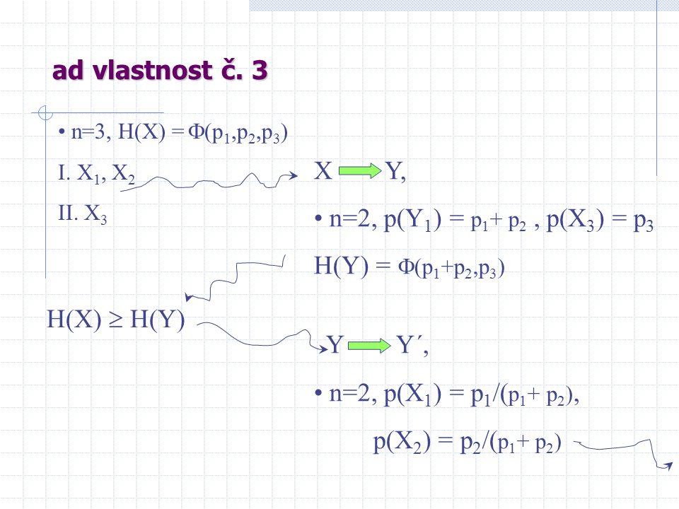 ad vlastnost č. 3 n=3, H(X) =  (p 1,p 2,p 3 ) I.