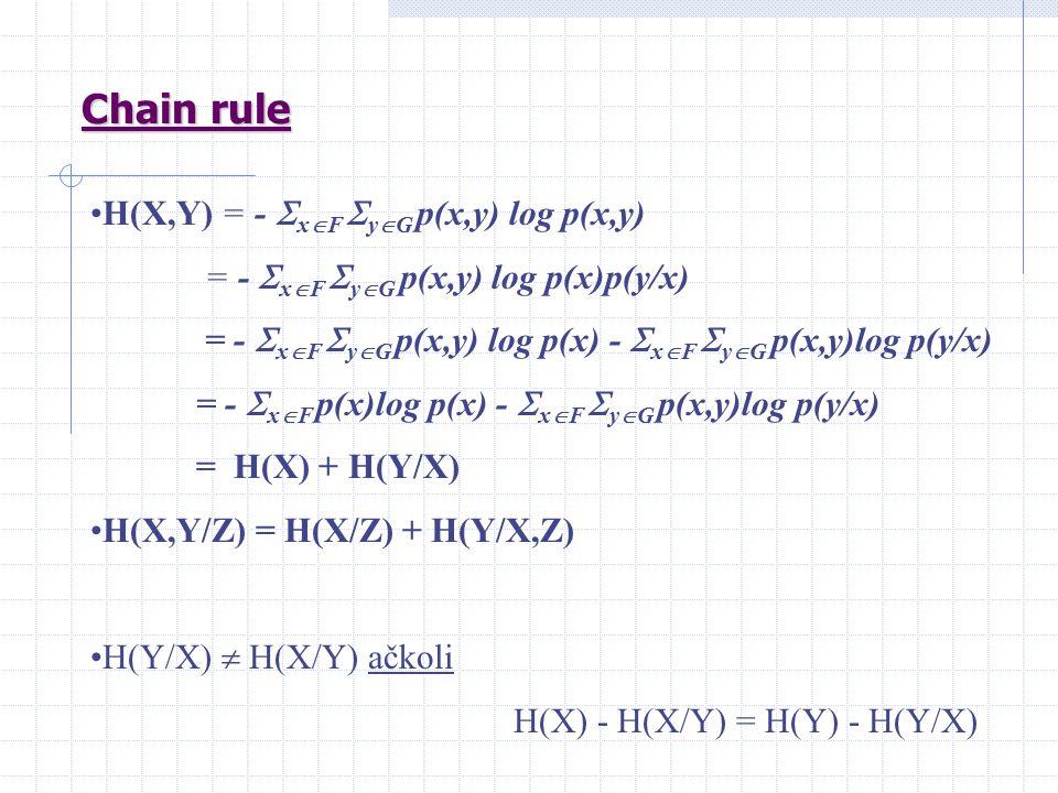 Chain rule H(X,Y) = -  x  F  y  G p(x,y) log p(x,y) = -  x  F  y  G p(x,y) log p(x)p(y/x) = -  x  F  y  G p(x,y) log p(x) -  x  F  y  G p(x,y)log p(y/x) = -  x  F p(x)log p(x) -  x  F  y  G p(x,y)log p(y/x) = H(X) + H(Y/X) H(X,Y/Z) = H(X/Z) + H(Y/X,Z) H(Y/X)  H(X/Y) ačkoli H(X) - H(X/Y) = H(Y) - H(Y/X)