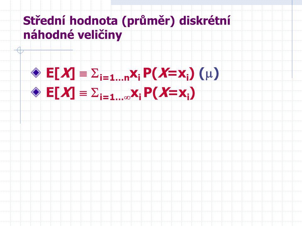 Střední hodnota (průměr) diskrétní náhodné veličiny E[X]   i=1…n x i P(X=x i ) (  ) E[X]   i=1…  x i P(X=x i )