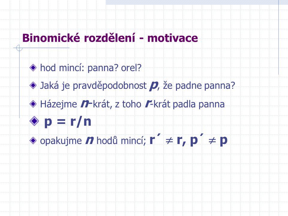 Binomické rozdělení - motivace hod mincí: panna. orel.