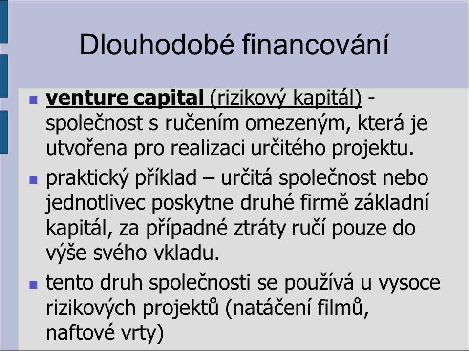 Dlouhodobé financování venture capital (rizikový kapitál) - společnost s ručením omezeným, která je utvořena pro realizaci určitého projektu.