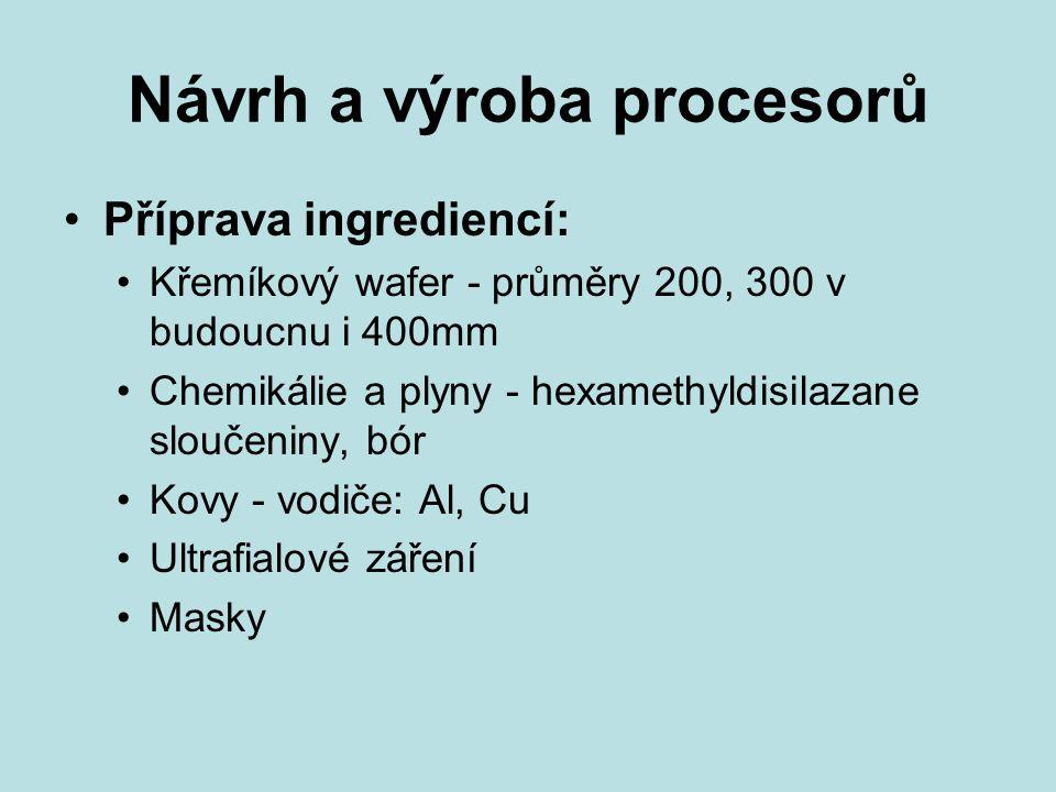 Návrh a výroba procesorů Příprava ingrediencí: Křemíkový wafer - průměry 200, 300 v budoucnu i 400mm Chemikálie a plyny - hexamethyldisilazane sloučeniny, bór Kovy - vodiče: Al, Cu Ultrafialové záření Masky