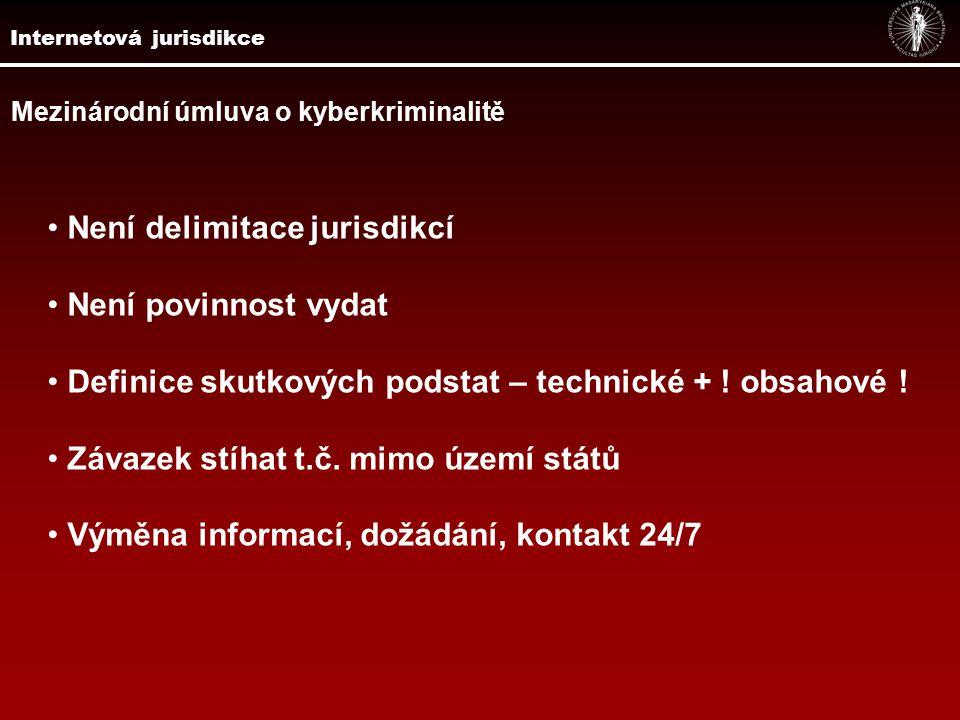 Mezinárodní úmluva o kyberkriminalitě Není delimitace jurisdikcí Není povinnost vydat Definice skutkových podstat – technické + .