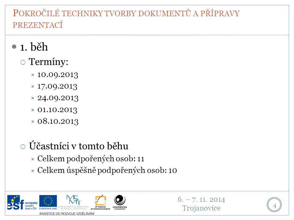 6. – 7. 11. 2014 Trojanovice P OKROČILÉ TECHNIKY TVORBY DOKUMENTŮ A PŘÍPRAVY PREZENTACÍ 4 1.