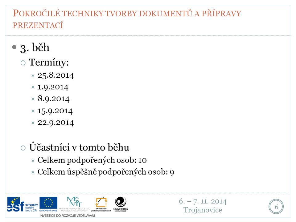 6. – 7. 11. 2014 Trojanovice P OKROČILÉ TECHNIKY TVORBY DOKUMENTŮ A PŘÍPRAVY PREZENTACÍ 6 3. běh  Termíny:  25.8.2014  1.9.2014  8.9.2014  15.9.2