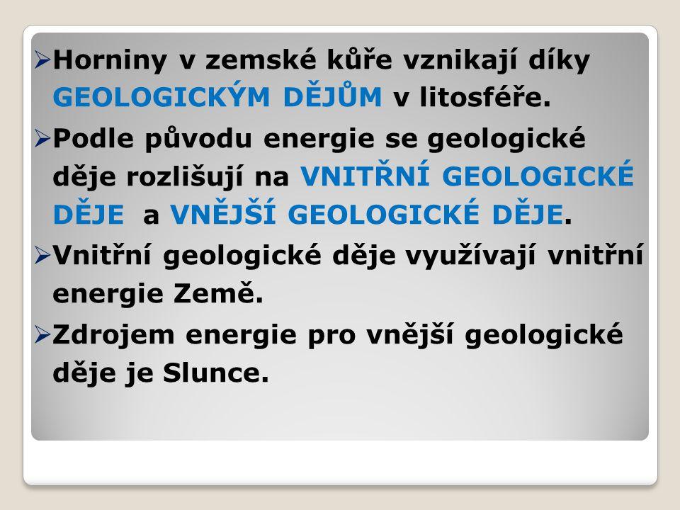  Horniny v zemské kůře vznikají díky GEOLOGICKÝM DĚJŮM v litosféře.  Podle původu energie se geologické děje rozlišují na VNITŘNÍ GEOLOGICKÉ DĚJE a