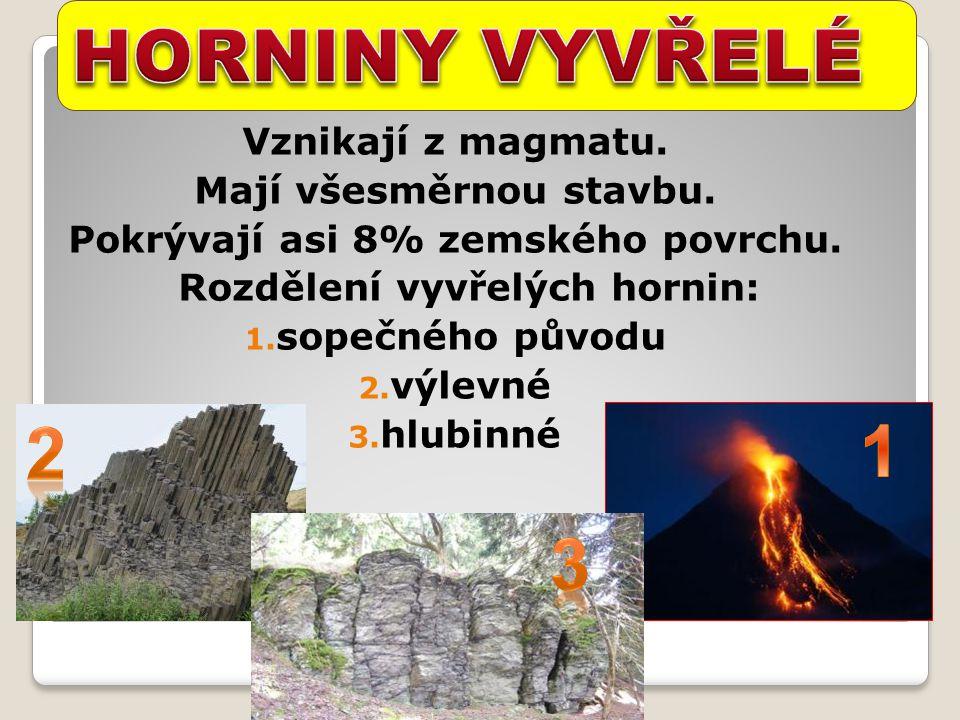 Vznikají z magmatu. Mají všesměrnou stavbu. Pokrývají asi 8% zemského povrchu. Rozdělení vyvřelých hornin: 1. sopečného původu 2. výlevné 3. hlubinné