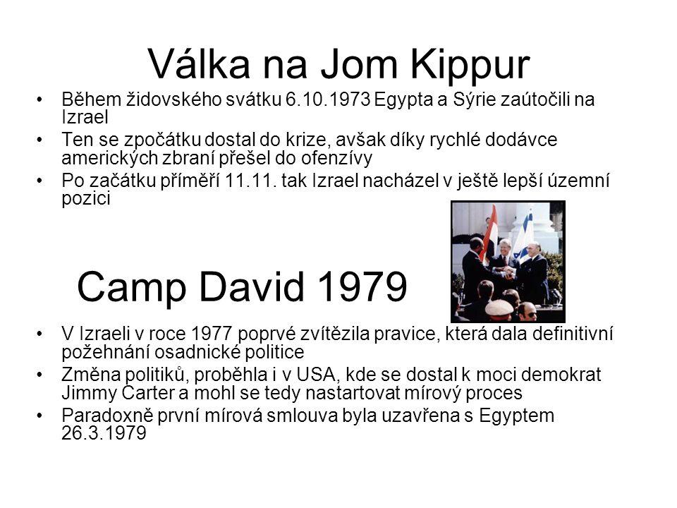 Válka na Jom Kippur Během židovského svátku 6.10.1973 Egypta a Sýrie zaútočili na Izrael Ten se zpočátku dostal do krize, avšak díky rychlé dodávce am