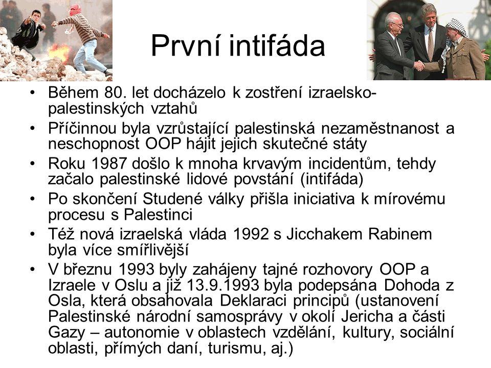 První intifáda Během 80. let docházelo k zostření izraelsko- palestinských vztahů Příčinnou byla vzrůstající palestinská nezaměstnanost a neschopnost