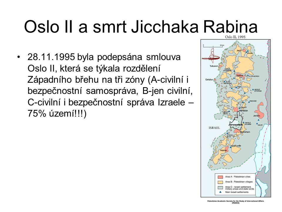 Oslo II a smrt Jicchaka Rabina 28.11.1995 byla podepsána smlouva Oslo II, která se týkala rozdělení Západního břehu na tři zóny (A-civilní i bezpečnos