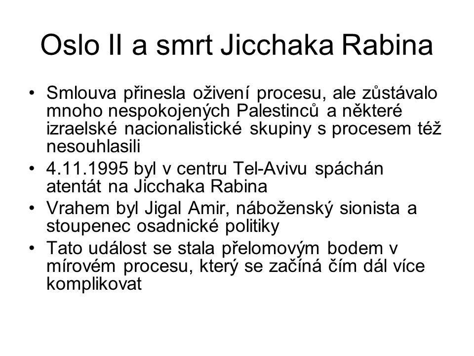 Oslo II a smrt Jicchaka Rabina Smlouva přinesla oživení procesu, ale zůstávalo mnoho nespokojených Palestinců a některé izraelské nacionalistické skup