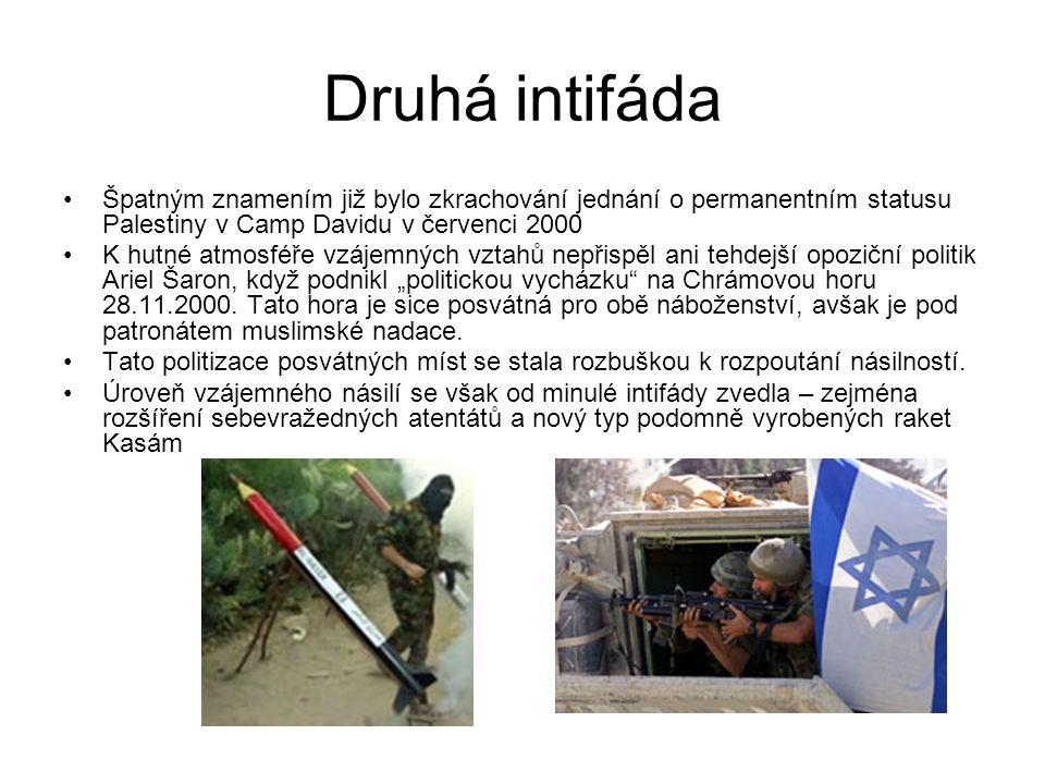 Druhá intifáda Špatným znamením již bylo zkrachování jednání o permanentním statusu Palestiny v Camp Davidu v červenci 2000 K hutné atmosféře vzájemný