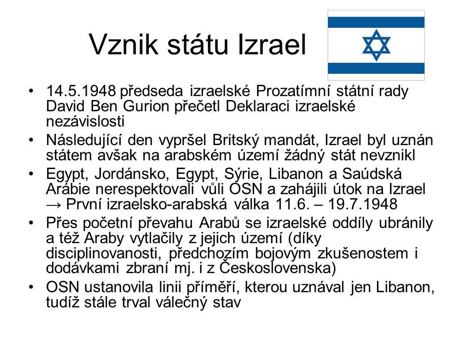 Vznik státu Izrael 14.5.1948 předseda izraelské Prozatímní státní rady David Ben Gurion přečetl Deklaraci izraelské nezávislosti Následující den vyprš