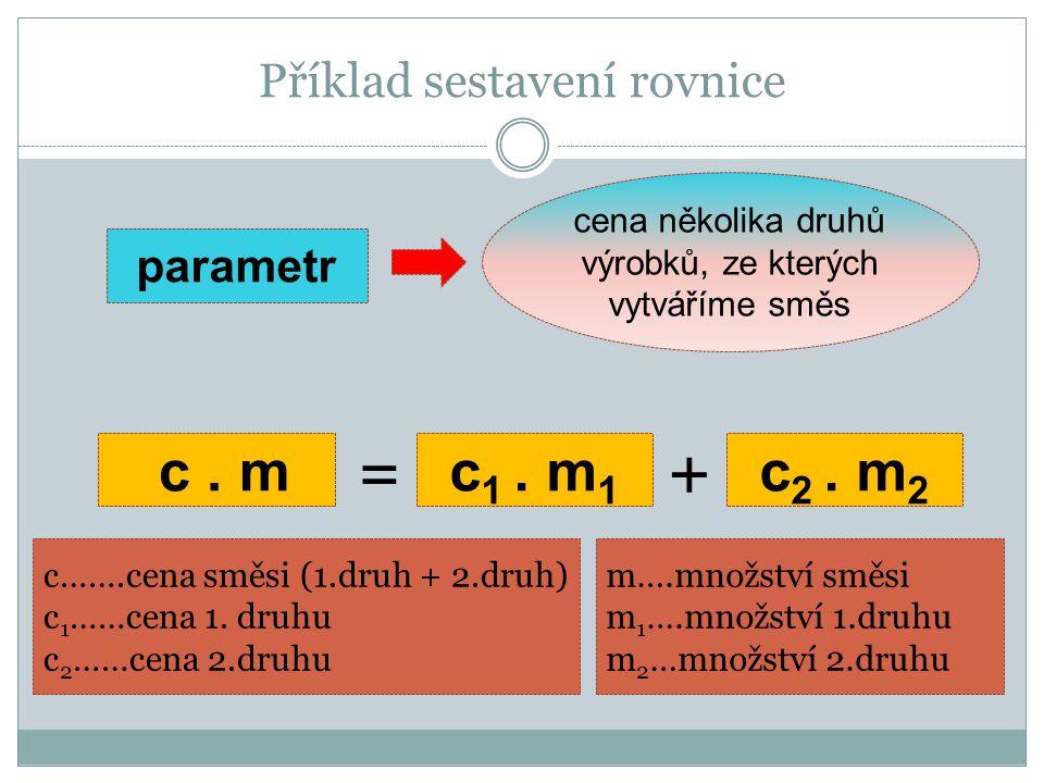 Příklad sestavení rovnice cena několika druhů výrobků, ze kterých vytváříme směs parametr c.