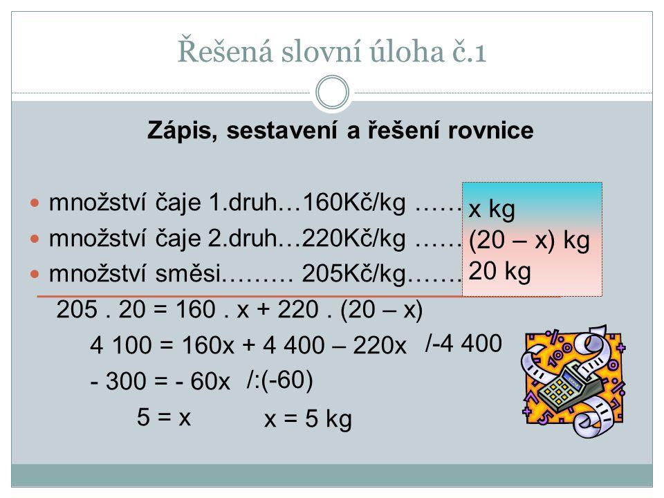 Zápis, sestavení a řešení rovnice množství čaje 1.druh…160Kč/kg …… množství čaje 2.druh…220Kč/kg …… množství směsi……… 205Kč/kg…….