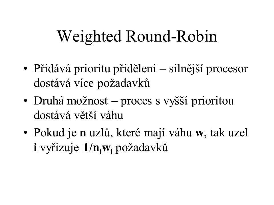 Weighted Round-Robin Přidává prioritu přidělení – silnější procesor dostává více požadavků Druhá možnost – proces s vyšší prioritou dostává větší váhu Pokud je n uzlů, které mají váhu w, tak uzel i vyřizuje 1/n i w i požadavků