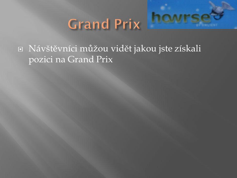  Návštěvníci můžou vidět jakou jste získali pozici na Grand Prix