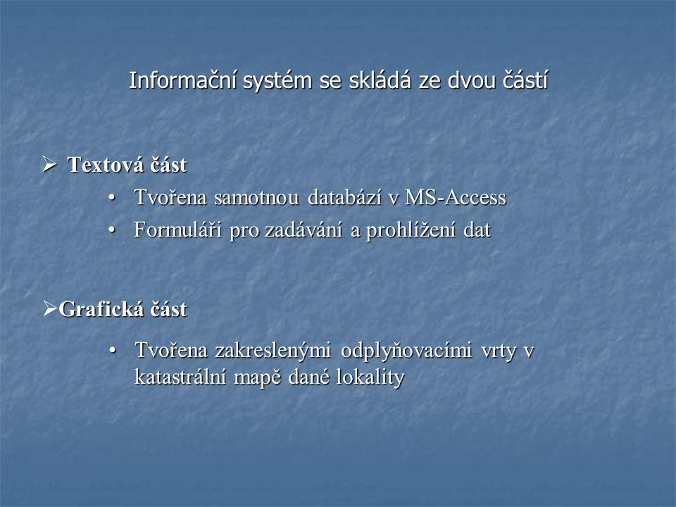 Informační systém se skládá ze dvou částí  Textová část Tvořena samotnou databází v MS-AccessTvořena samotnou databází v MS-Access Formuláři pro zadávání a prohlížení datFormuláři pro zadávání a prohlížení dat Grafická část  Grafická část Tvořena zakreslenými odplyňovacími vrty v katastrální mapě dané lokalityTvořena zakreslenými odplyňovacími vrty v katastrální mapě dané lokality