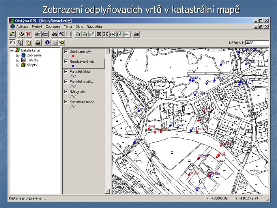 Zobrazení odplyňovacích vrtů v katastrální mapě