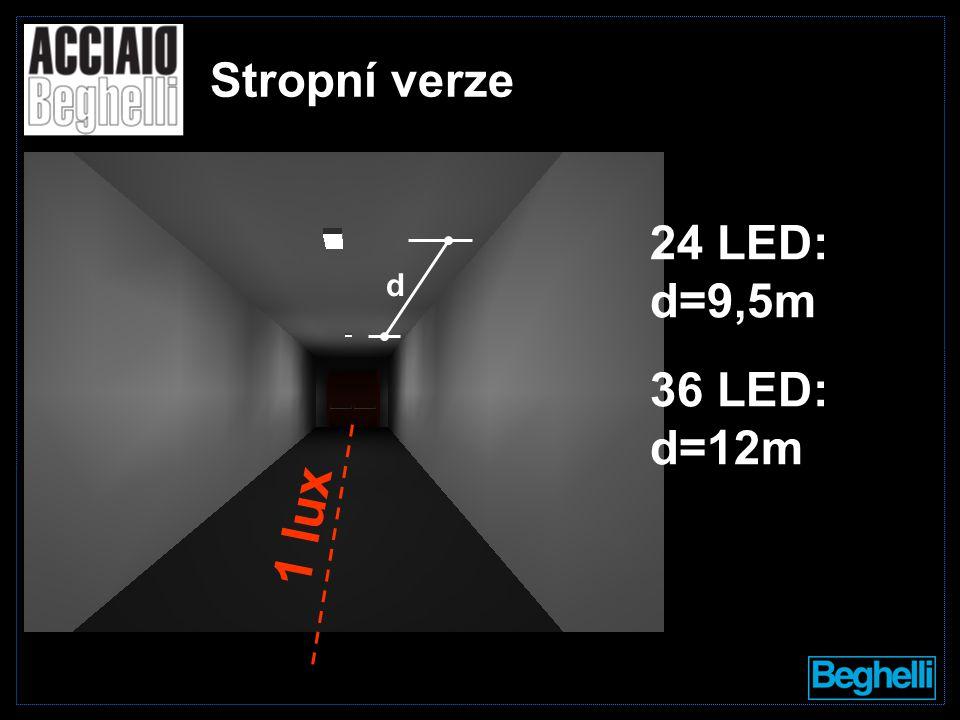 d Stropní verze 24 LED: d=9,5m 36 LED: d=12m 1 lux
