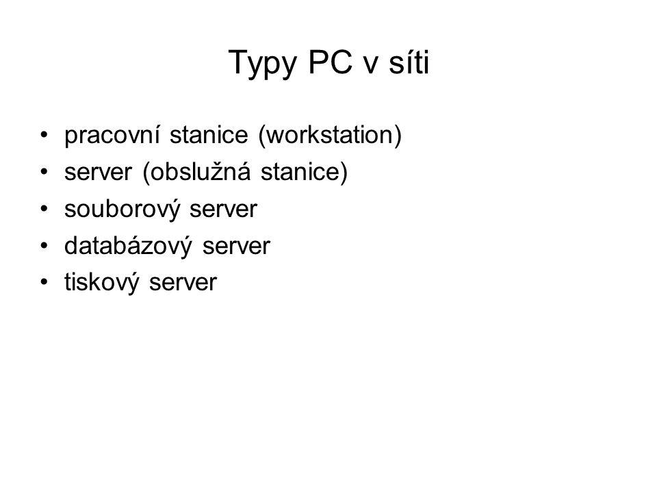 Typy PC v síti pracovní stanice (workstation) server (obslužná stanice) souborový server databázový server tiskový server
