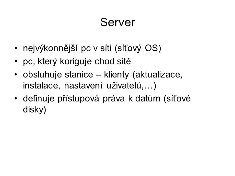 Server nejvýkonnější pc v síti (síťový OS) pc, který koriguje chod sítě obsluhuje stanice – klienty (aktualizace, instalace, nastavení uživatelů,…) de