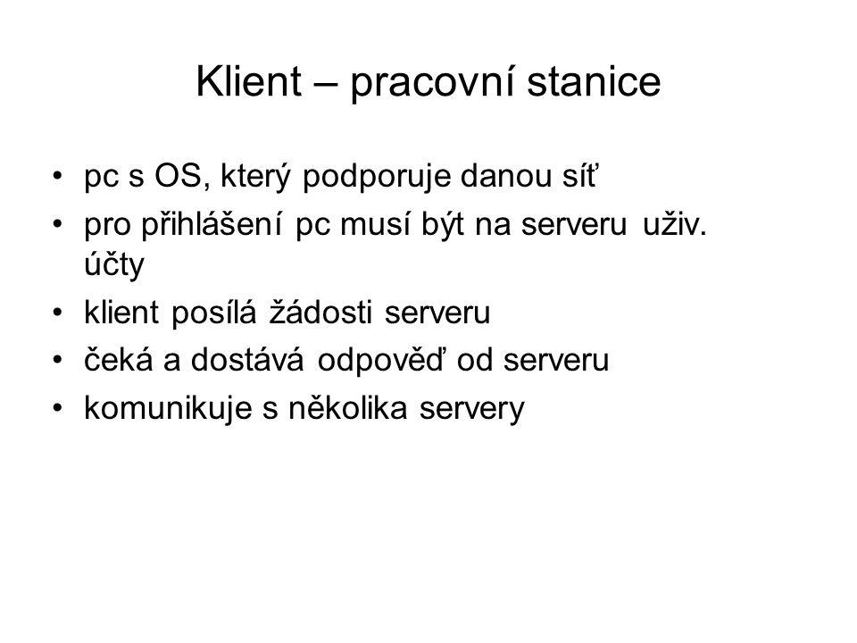 Klient – pracovní stanice pc s OS, který podporuje danou síť pro přihlášení pc musí být na serveru uživ. účty klient posílá žádosti serveru čeká a dos