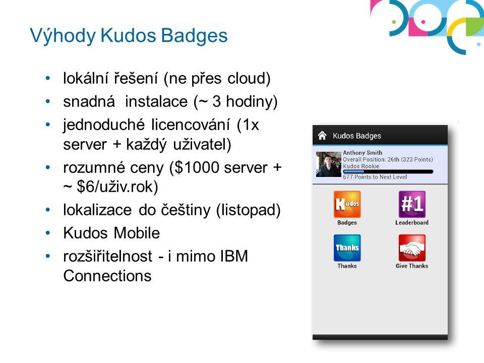 Výhody Kudos Badges Whitesoft © 2013 lokální řešení (ne přes cloud) snadná instalace (~ 3 hodiny) jednoduché licencování (1x server + každý uživatel) rozumné ceny ($1000 server + ~ $6/uživ.rok) lokalizace do češtiny (listopad) Kudos Mobile rozšiřitelnost - i mimo IBM Connections