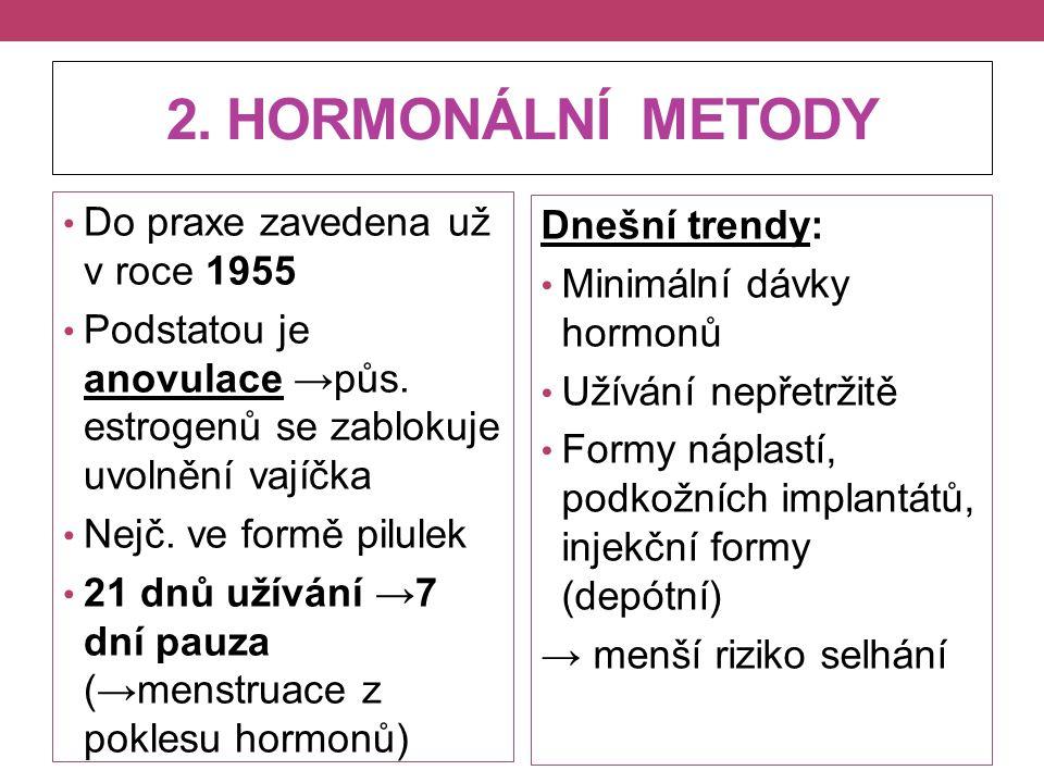 2. HORMONÁLNÍ METODY Do praxe zavedena už v roce 1955 Podstatou je anovulace →půs. estrogenů se zablokuje uvolnění vajíčka Nejč. ve formě pilulek 21 d